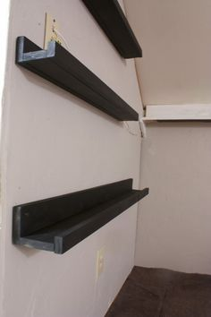 Floating shelves - I like this idea only make them wider and use it for DVDs under a wall-mounted tv