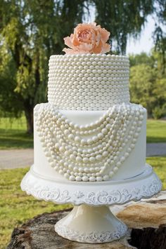 Strings of White Pearls Wedding Cake Photo