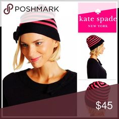 KATE SPADE CAP HAT 💟NEW WITH TAGS💟  RETAIL PRICE: $58  KATE SPADE Cap Hat Beanie  * Super soft striped knit construction   * Rib trim cuff   * Stretch-to-fit style, one size fits most   * Cozy & comfortable   * Bow detail     * Well made  Fabric- 100% wool (not scratchy)   Color- Black & pink  Item#:   🚫No Trades🚫 ✅ Offers Considered*✅  *Please use the blue 'offer' button to submit an offer kate spade Accessories Hats
