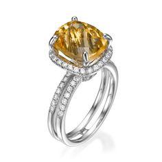 Cushion Cut Citrine Gemstone and Diamond Halo Fashion Cocktail Ring   18K White Gold   Double Band
