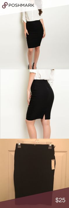 NWT Have Black Pencil Skirt NWT Hive Black Pencil Skirt- Various Sizes: This is a must have for any working ladies' closet. The skirt is made of 76% Rayon, 21% Nylon, and 3% Spandex. It comes from a smoke free home. Have Skirts Pencil