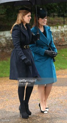 Princess Beatrice and Princess Eugenie attends a Christmas Day church service at Sandringham on December 25, 2015 in King's Lynn, England.  (Photo by Chris Jackson/Getty Images)