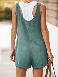 Button Up Sleeveless Casual Rompers Overalls For Women | shrural.com