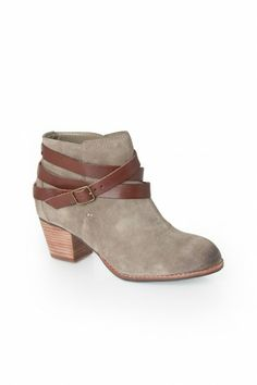 Java Ankle Boot in Taupe Suede DV by Dolce Vita $125 // i bet this could be diy-ed with a belt and cheaper booties