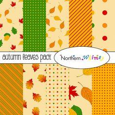 Autumn Leaves Digital Paper Pack – scrapbook paper with leaf patterns in fall colors – red, gold, orange, green– instant download – CU OK #digiscrap #scrapbookpaper #fall #leaves #autumncolors