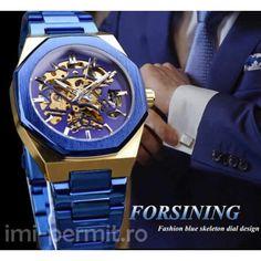 Ceas barbatesc automatic clasa business, limbi fosforescnte marca Forsining Skeleton, Watches, Blue, Accessories, Design, Wristwatches, Skeletons, Clocks