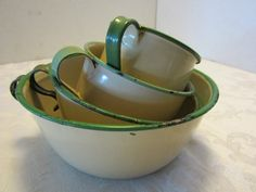 Cream and Green Enamelware.