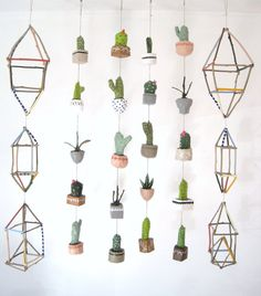 Potted Cacti Mini Mobile   No Water Necessaire by jikits on Etsy, $49.00