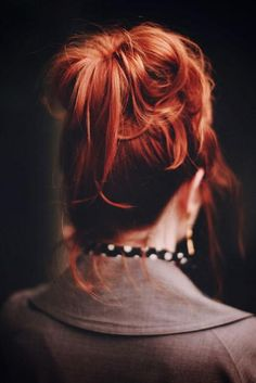 Beautiful messy #Bun!  Love the colour