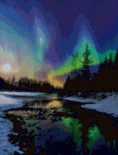 Northern Lights Aurora Borealis Cross Stitch pattern PDF - Instant Download! by…