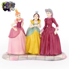Hand-painted, hand-glazed fine porcelain Lady Tremaine, Anastasia and Drizella figurine with 2-color eye decals, inspired by their appearance in Walt Disney's Cinderella animated film (1950). This