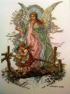 Angel de la Guarda bordado en punto de cruz