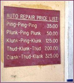 Auto Repair Price List