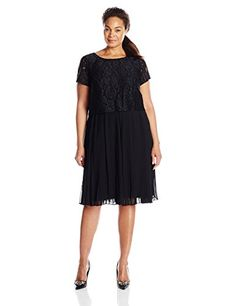 Adrianna Papell Womens PlusSize Popover Lace Pleated Chiffon Dress Black 22W ** Click image to review more details.