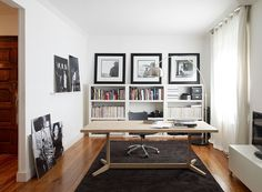 Timeless #black and #white color combination through #decor and design for a home #office