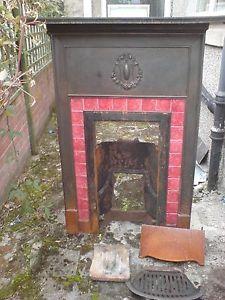 Antique-fireplace-1930s-Art-Deco-Tiles-Vintage-Hearth-Cast-Iron £50 ... ebay ....PINK TILES