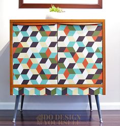 Thrifted midcentury cabinet makeover with new legs and wallpaper by Do Design Yourself - DIY Furniture Makeovers Furniture Plans, Furniture Making, Furniture Makeover, Diy Furniture, Modern Furniture, New Cabinet, Shoe Cabinet, Custom Woodworking, Woodworking Projects Plans
