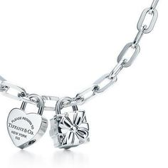 tiffany heart and box lock charm necklace