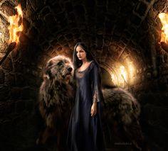 Luthien and Huan in Nargothrond by LadyLadyK on DeviantArt Tolkien Books, Jrr Tolkien, Das Silmarillion, Elven Woman, Luthien, Under The Shadow, Appreciation Post, Fantasy Movies, Fantasy World
