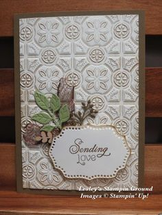 Hi again, I am so happy that the Tin Tile Dynamic Textured Impressions Embossing Folder ( is still available from the Holiday catalo. Christmas Cards To Make, Prim Christmas, Tin Tiles, Scrapbooking, Anna Griffin Cards, Shaped Cards, Embossed Cards, Thanksgiving Cards, Card Making Inspiration