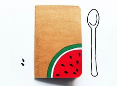 A fun and fresh little notebook with a juicy watermelon slice handpainted on it :) You can bring it always with you, fill it with notes, memories, scribbles, recipes and ideas before they fly...
