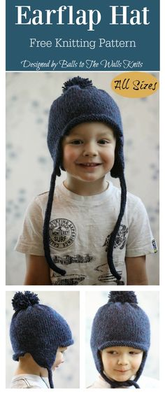 All in the Family Earflap Hat Free Knitting Pattern - Knit Hat 3 Crochet Hats For Boys, Knitted Hats Kids, Baby Hats Knitting, Crochet Baby Hats, Free Knitting, Knit Hats, Crocheted Hats, Crochet Hat Earflap, Knit Beanie Pattern