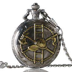 Fashion Golden/Bronze Firefighting Design Pocket Watch for Firefighter Watches P994C
