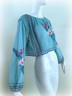 Vintage 70s Sheer Floral Crop Top Cropped by MothFoodVintage