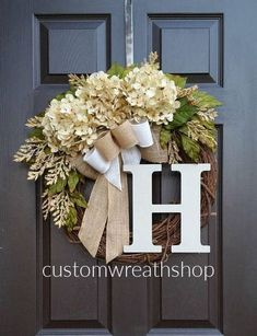Spring Summer Hydrangea Wreath for front Door Mother& Day Gift Cream Hydrangea Door Decoration Farmhouse Wreath Grapevine Wreath by CustomWreathShop Front Door Decor, Wreaths For Front Door, Door Wreaths, Ribbon Wreaths, Floral Wreaths, Front Doors, Front Porch, Diy Wreath, Grapevine Wreath