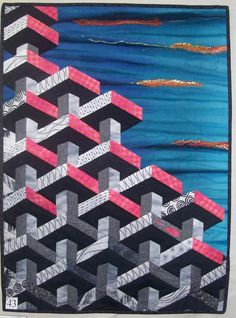 Tumbling Blocks quilt in the shape of a building, a 2010 Challenge quilt for the Bunbury Patchwork and Quilting Group Exhibition in Australia. Posted at P and Q magazine