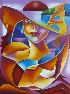 "Haitian Art, Canvas Painting, Faces of Women- Modern Art, Caribbean Art, Haitian Art - 30"" x 40"" - 285 by TropicAccents on Etsy"