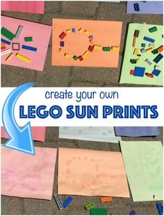 Create sun prints using your favorite LEGO bricks! Easy summer craft for kids! Sun Safety Activities, Safety Crafts, Math Activities For Kids, Summer Crafts For Kids, Summer Fun, Sun Activity, Summer Safety, Safety Week, Brick Crafts