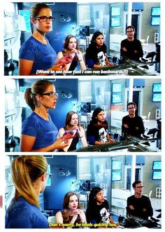 The Flash - Barry, Felicity, Cisco, Caitlin and Barry #1.4 #Season1...laughed so hard on the scene!