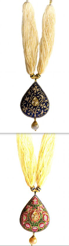 Indigo Flower Meena :: Sannu's indigo colored teardrop pendant and earrings meenakari is inspired by 15th century Mughal period artwork. It could be worn as a reversible; the flip-side has a beautiful lotus pond lake meena artwork with a diamond polki at its core. Details: Made with 23 karat gold weighing 35.350 gms, uncut diamonds of 1.80 cent, natural pearls weighing 29.30 gms, and south sea pearls. Handmade in Bikaner. SKU: 0072. www.sannu.in
