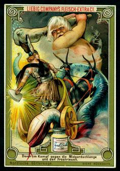 Thor's struggle against the Midgard serpent, as depicted in a vintage ad