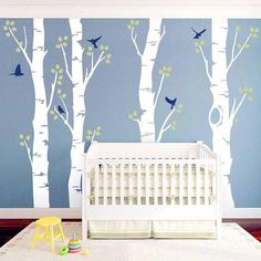 Wide Birch Tree and Birds Wall Decal