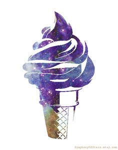 Ice Cream Cone Galaxy Universe Art Print Kitchen Art. $15.00, via Etsy. My 2 favorite things, Galaxy + ice cream