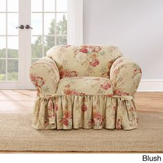 Sure Fit Ballad Bouquet 1 Piece Skirted Chair Slipcover (Blush), Red crimson Shabby Chic Chairs, Shabby Chic Homes, Shabby Chic Furniture, Shabby Chic Decor, Distressed Furniture, Shabby Chic Slipcovers, Chabby Chic, Vintage Furniture, Armchair Slipcover