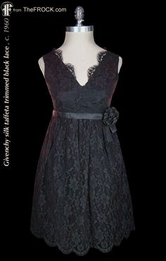 Vintage Givenchy silk taffeta trimmed lace cocktail dress; 1950s / 1960s french couture LBD, Little Black Dress. (While the garment is available, details and more photos are found on our website at www.thefrock.com )