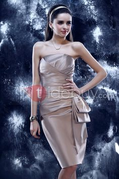 Elegant Sheath/Column Knee-Length Strapless Yulia's Cocktail/Event Dress : Tidebuy.com