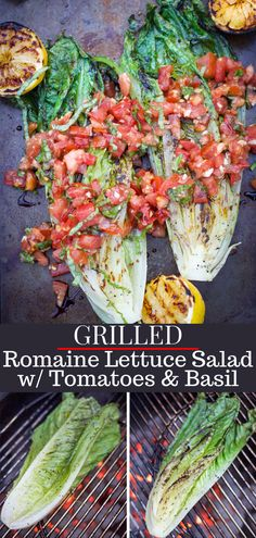A guide on how to grill romaine lettuce, as well as an amazing recipe for Grilled Romaine Salad with Tomatoes & Basil. This is the perfect side dish for any BBQ. Lettuce Recipes, Salad Recipes, Healthy Recipes, Meat Recipes, Grilled Tomatoes, Grilled Veggies, Vegan Grilling, Grilling Recipes, Grilled Romaine Lettuce