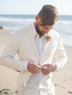 Beach All White Wedding Groom Style - - Wedding colors - wedding color palettes - wedding color ideas - All White wedding ideas Beach Wedding Groom Attire, Beach Groom, Beach Attire, Tuxedo Wedding, Wedding Beach, Summer Wedding, Linen Wedding Suit, White Beach Weddings, Trendy Wedding