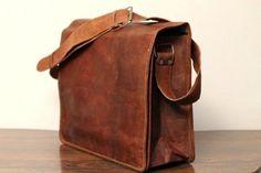 Leather Messenger Bag Cross body bag Unisex -  15x11x4