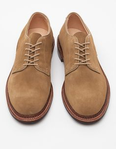 Plain toe blucher shoe from Alden crafted from butter soft full grain suede leather with flex welt construction. Made on Alden's Barrie last. Made on the Alden Barrie last.