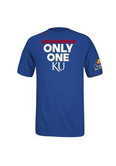 Kansas Jayhawks Adidas T-Shirt - Mens Blue Only One KU T-Shirt