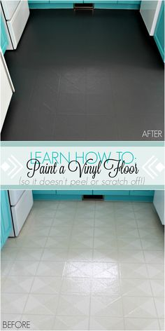 Learn How to Paint a Vinyl Floor That Won't Scratch or Peel Off. Find out how a vinyl floor has held up, years later. Great idea for a budget-friendly kitchen makeover. floors How to Paint a Vinyl Floor Painted Bathroom Floors, Painted Vinyl Floors, Bathroom Vinyl, Painting Bathroom Tiles, Bathroom Bath, Bath Tub, Small Bathroom, Diy Flooring, Kitchen Flooring