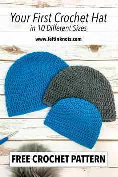 """Everyone needs their """"crochet basics"""" patterns in their repertoire. This hat pattern is perfect for everyone! From someone learning how to crochet to those who sell their work. It can be used as a basic hat pattern or as a canvas for embellishment! Double Crochet Beanie Pattern, Mens Crochet Beanie, Beanie Pattern Free, Easy Crochet Hat, Crochet Coaster Pattern, Crochet Baby Hats, Free Crochet, Crochet Patterns, Simple Crochet"""