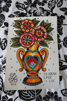 Painting for my Nans Birthday! Vase with some flowers.