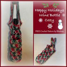 Happy Holidays Wine Bottle Cozy ~ FREE Crochet Pattern