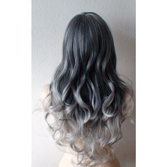 Gray Ombre Wig Gray Color Hair Long Curly Hairstyle With Long Side... ($140) ❤ liked on Polyvore featuring beauty products, haircare, hair styling tools and curly hair care